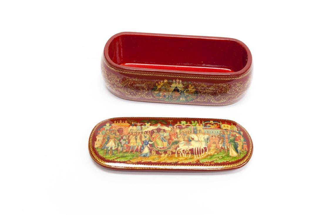 Panov Palekh Russian Red Lacquer Box. - 3