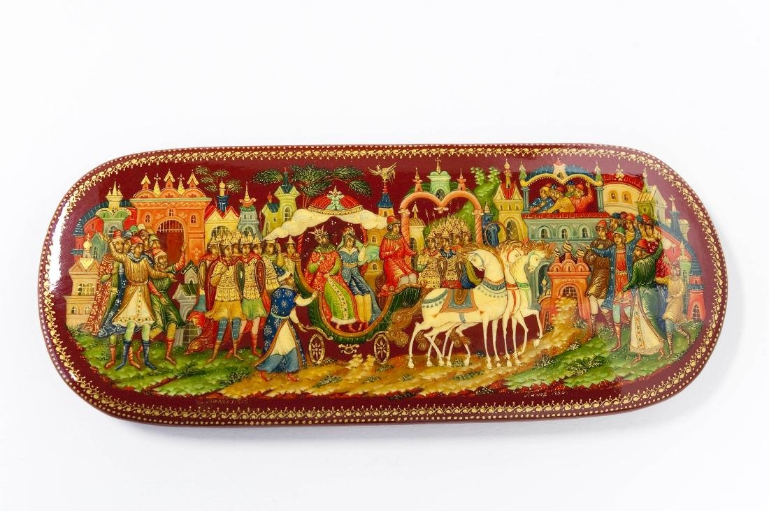 Panov Palekh Russian Red Lacquer Box. - 6