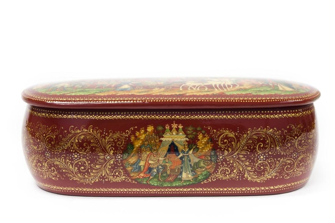 Panov Palekh Russian Red Lacquer Box. - 7