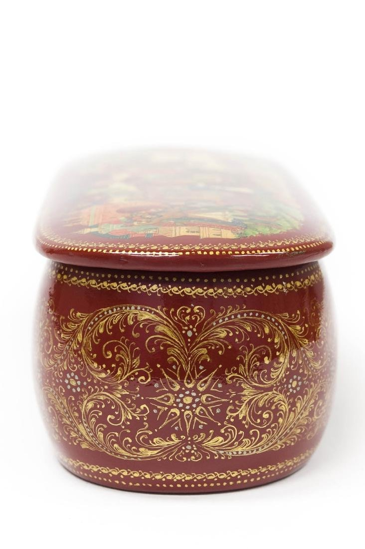 Panov Palekh Russian Red Lacquer Box. - 8