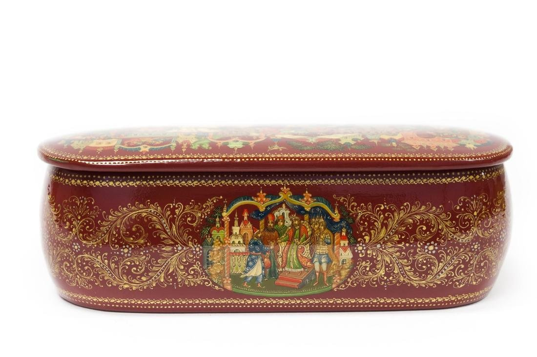 Panov Palekh Russian Red Lacquer Box. - 9