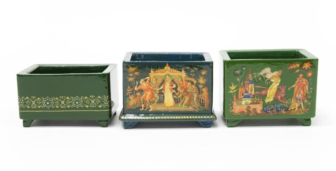 (3) Palekh Russian Green Lacquer Boxes. - 10
