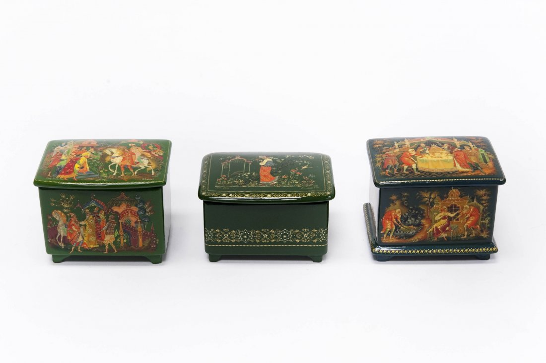 (3) Palekh Russian Green Lacquer Boxes.