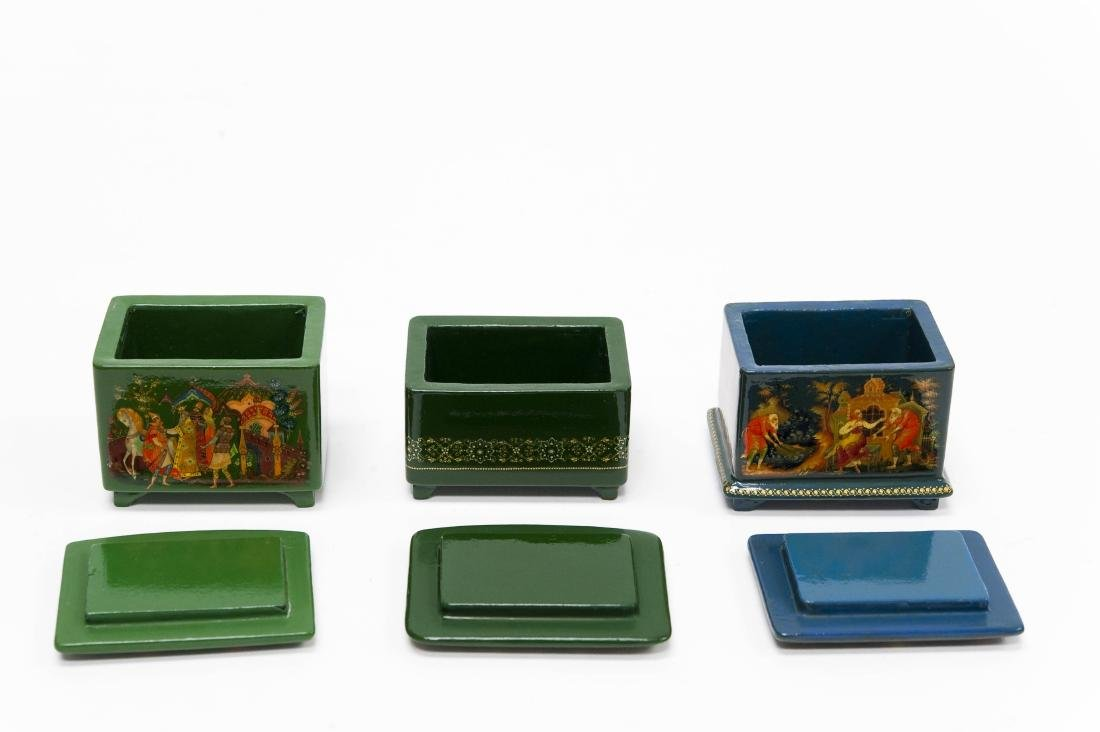 (3) Palekh Russian Green Lacquer Boxes. - 2
