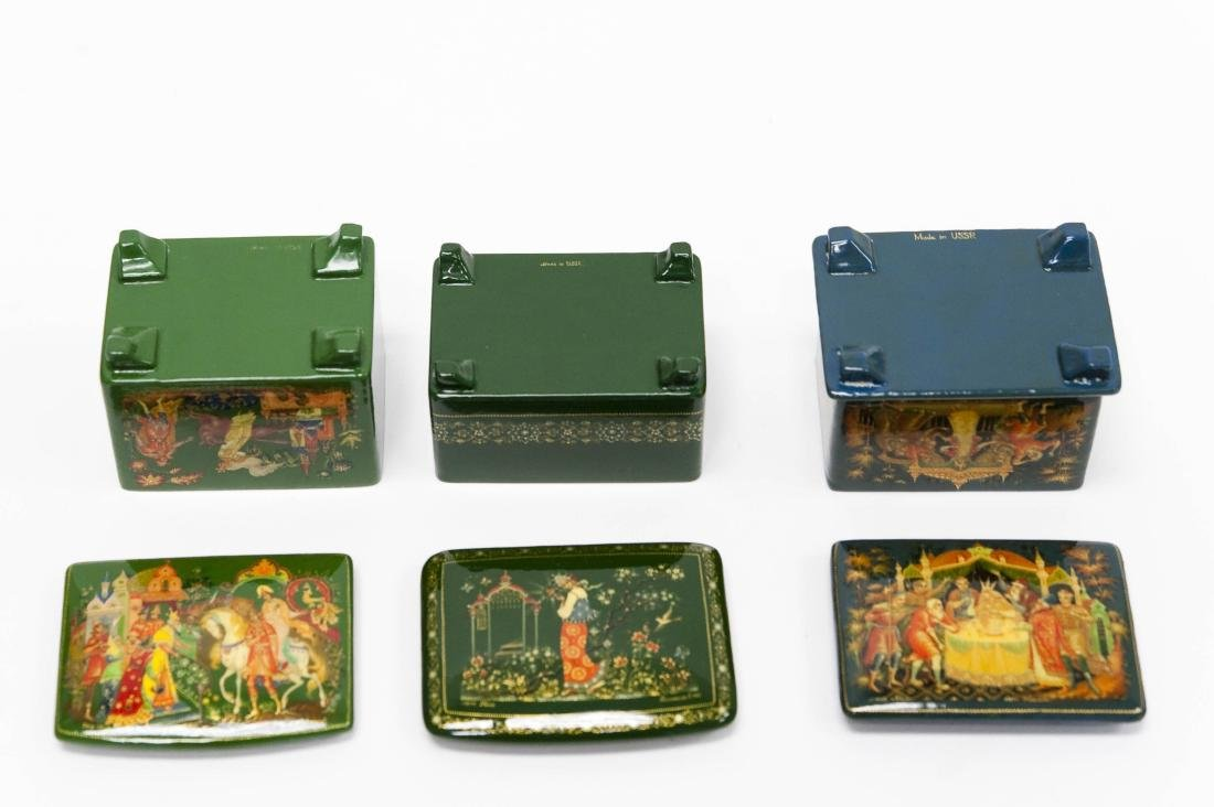 (3) Palekh Russian Green Lacquer Boxes. - 3