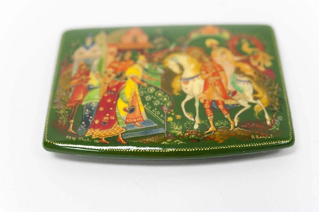 (3) Palekh Russian Green Lacquer Boxes. - 4