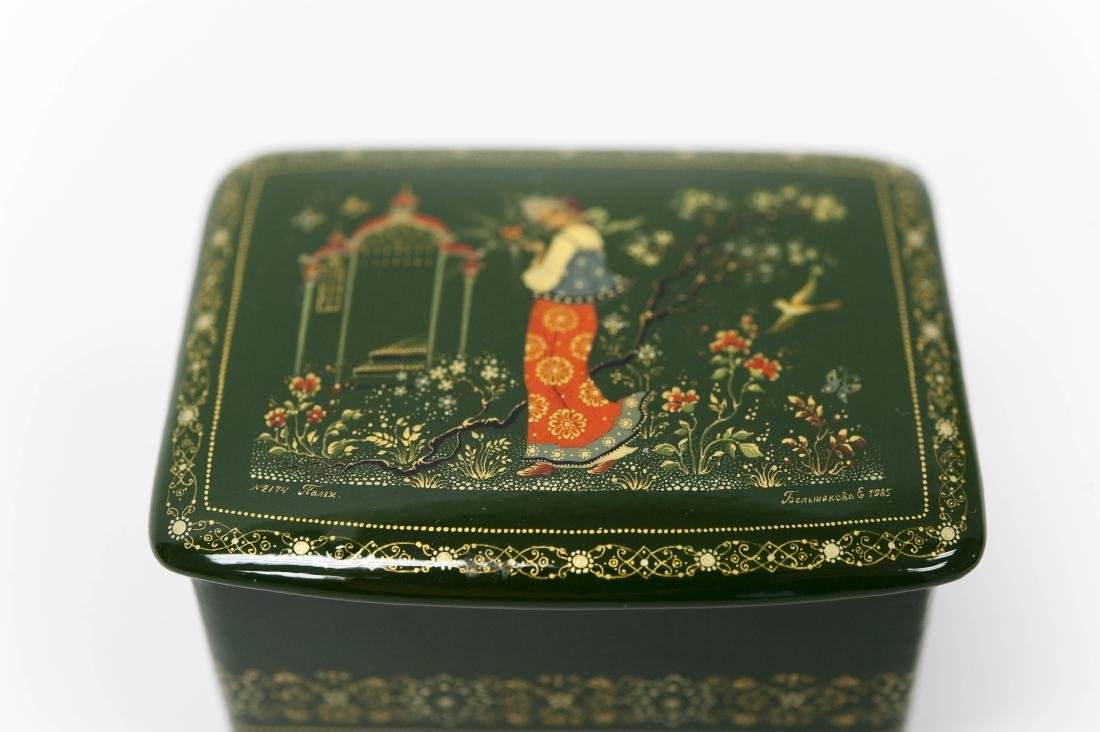 (3) Palekh Russian Green Lacquer Boxes. - 5