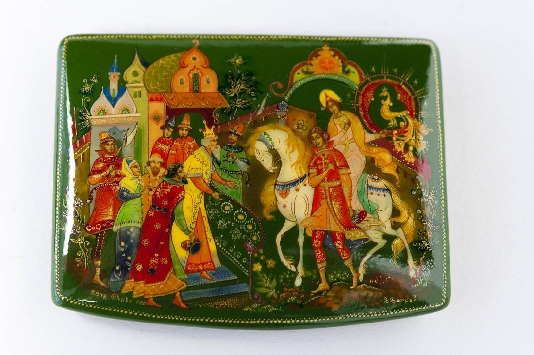 (3) Palekh Russian Green Lacquer Boxes. - 7