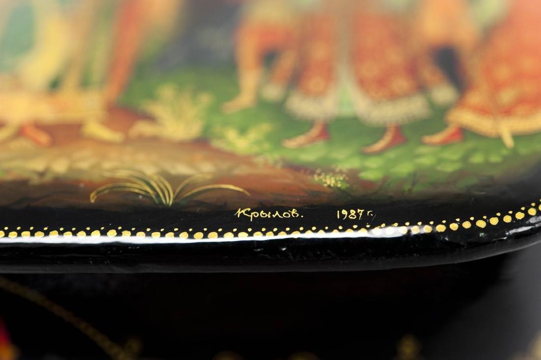 Krylov Palekh Russian Lacquer Box. - 5