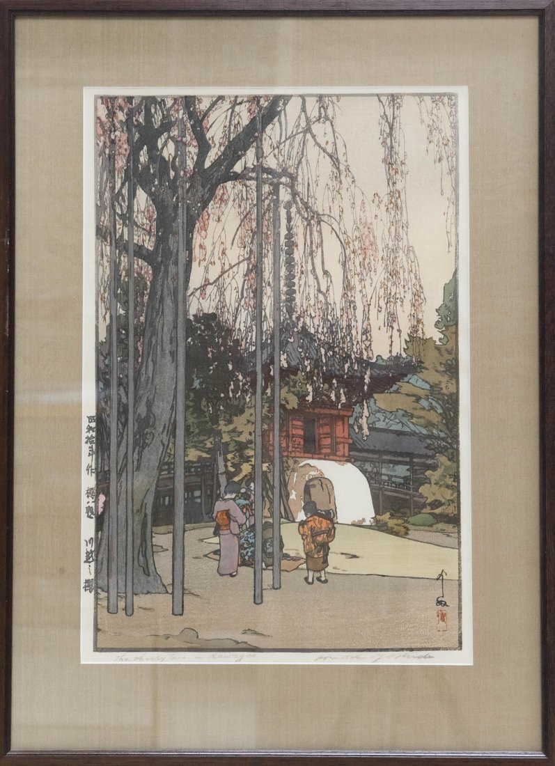 "Hiroshi Yoshida Wood Block Print, ""Cherry Tree in"