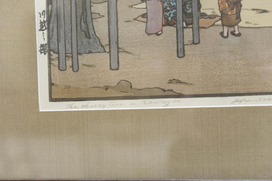 "Hiroshi Yoshida Wood Block Print, ""Cherry Tree in - 3"
