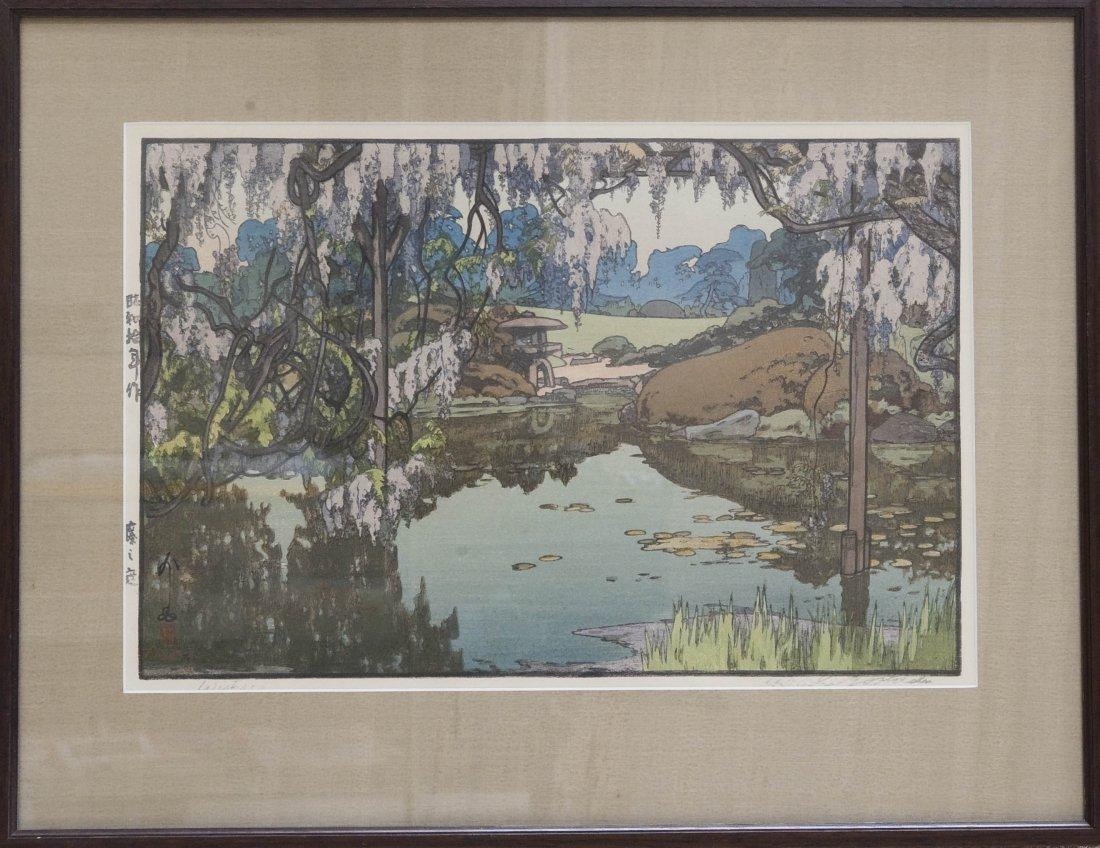 "Hiroshi Yoshida Wood Block Print, ""Wisteria""."
