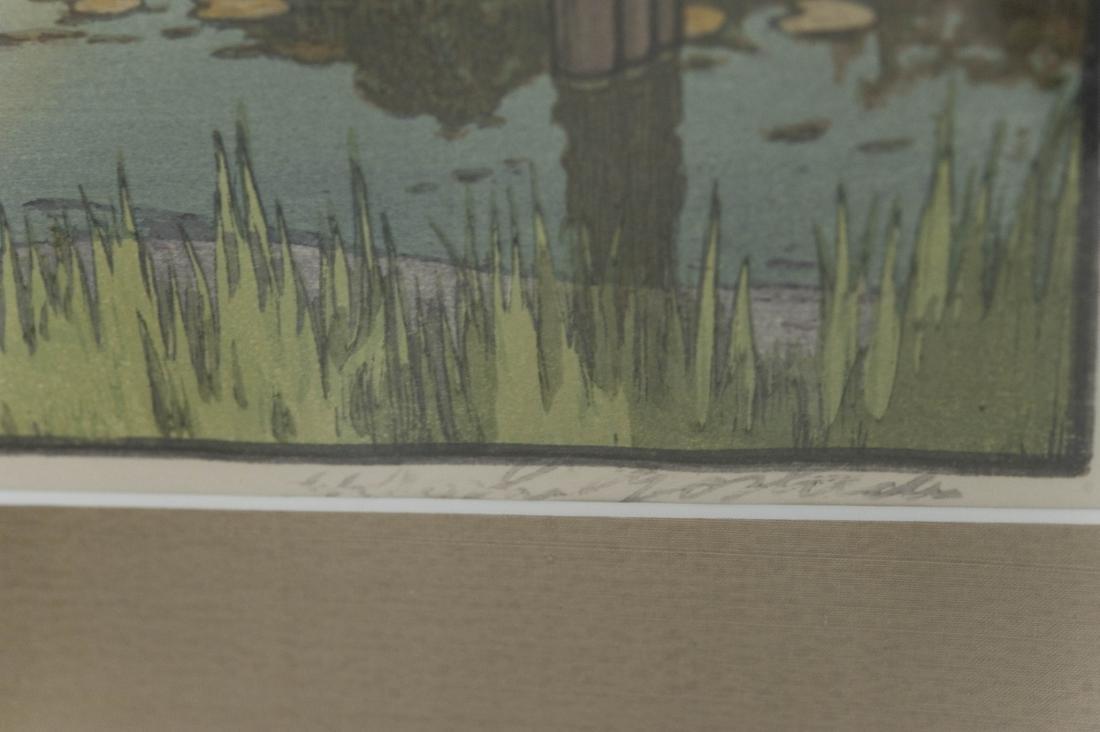 "Hiroshi Yoshida Wood Block Print, ""Wisteria"". - 5"