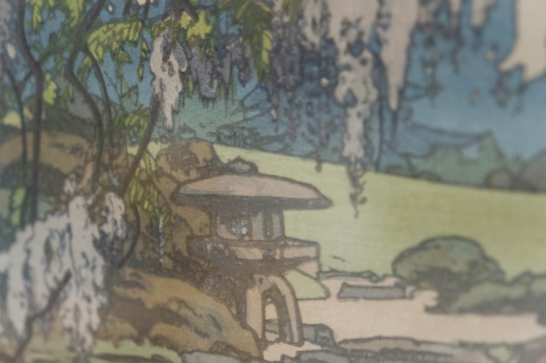 "Hiroshi Yoshida Wood Block Print, ""Wisteria"". - 6"