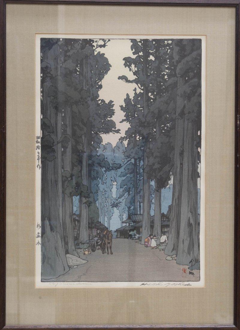 """Hiroshi Yoshida Wood Block Print, """"Cryptomeria Avenue""""."""