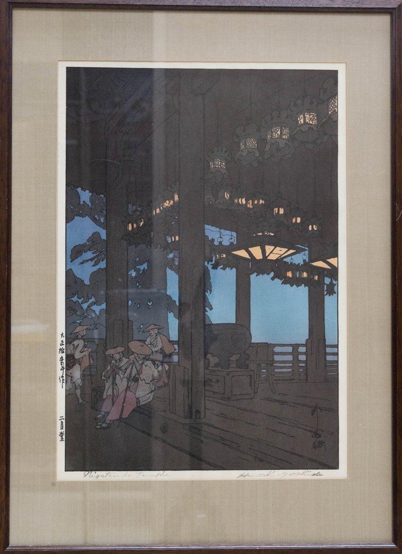 """Hiroshi Yoshida Wood Block Print, """"Nigatsudo Temple""""."""
