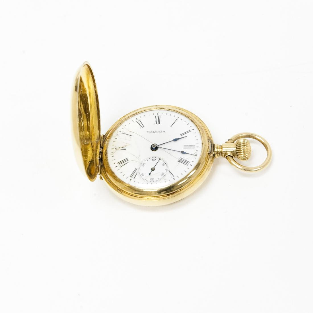 Waltham 18K Gold Hunter Case Watch.