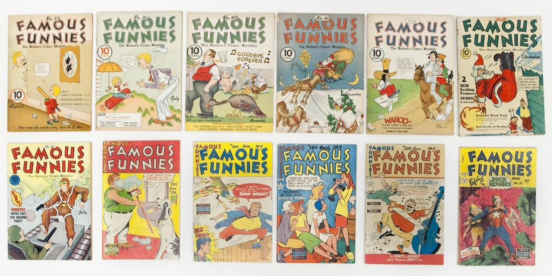 (12) Vintage Famous Funnies Comic Books.