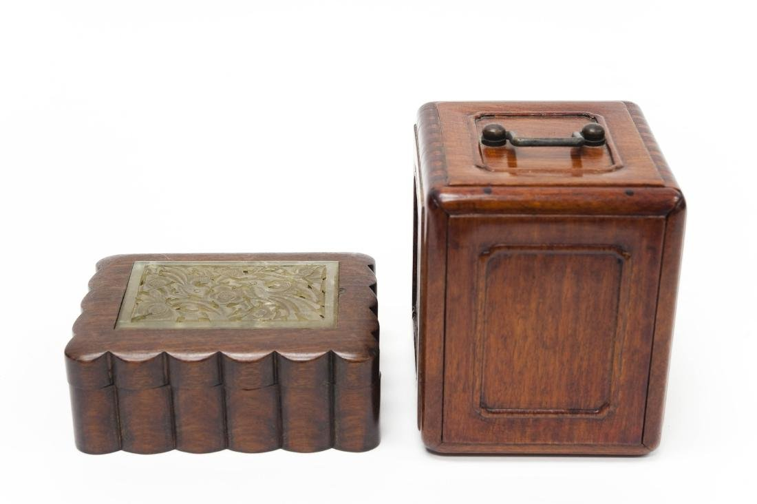 (2) Chinese Carved Rosewood Boxes.