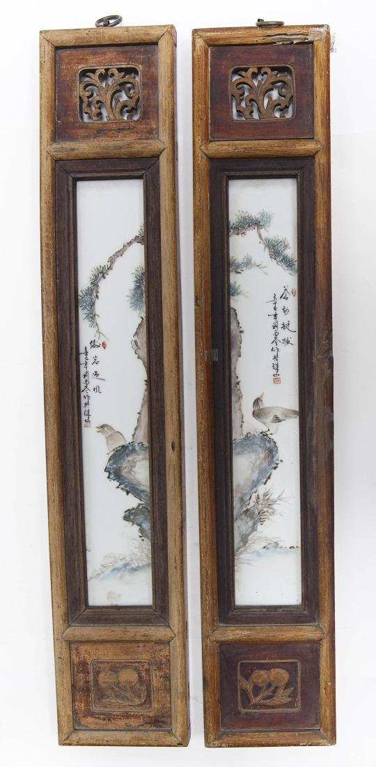 (2) Oriental Hand painted Tile Wall Hangings.