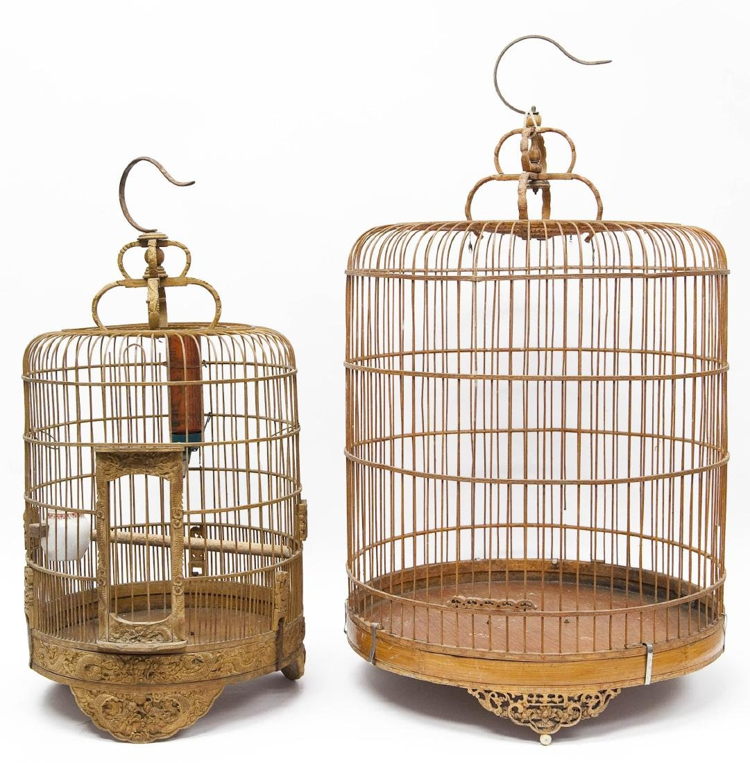 (2) Oriental Carved Wood Bird Cages.