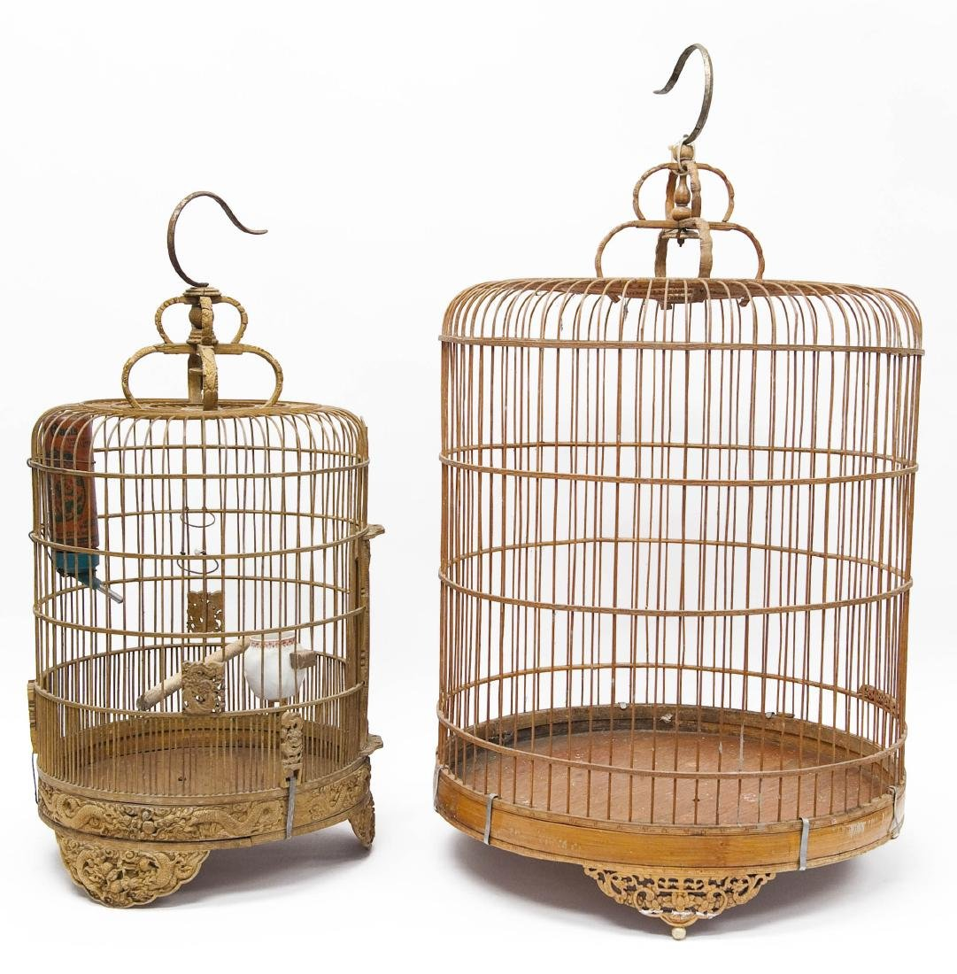 (2) Oriental Carved Wood Bird Cages. - 2