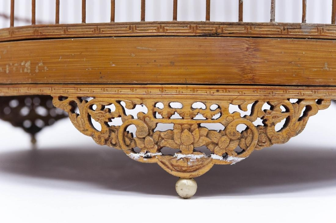 (2) Oriental Carved Wood Bird Cages. - 3