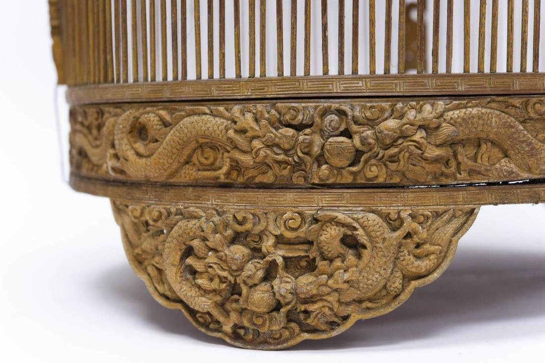 (2) Oriental Carved Wood Bird Cages. - 6
