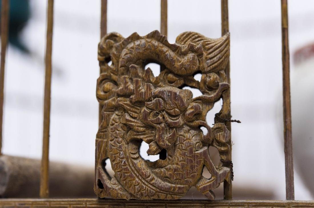 (2) Oriental Carved Wood Bird Cages. - 7