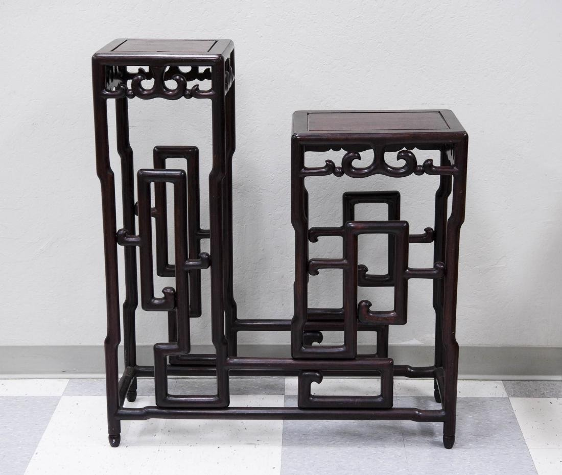 Oriental Carved Rosewood 2-tier Stand.