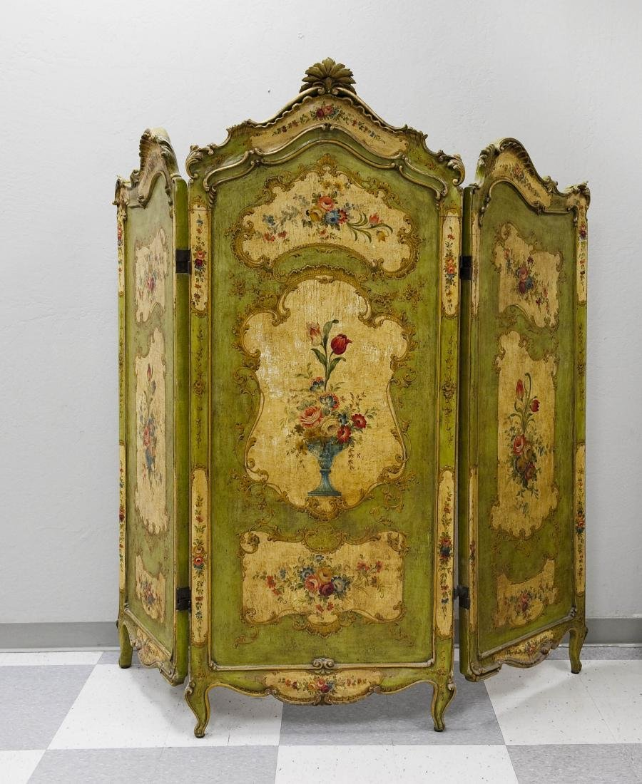 Early 20th C. Continental 3-panel Screen.