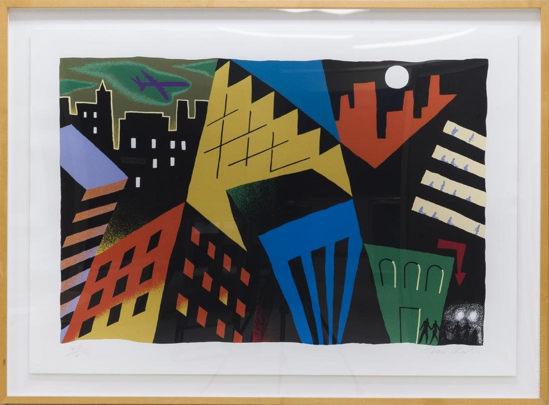 "Tim Clark Serigraph, ""Plane in the City""."