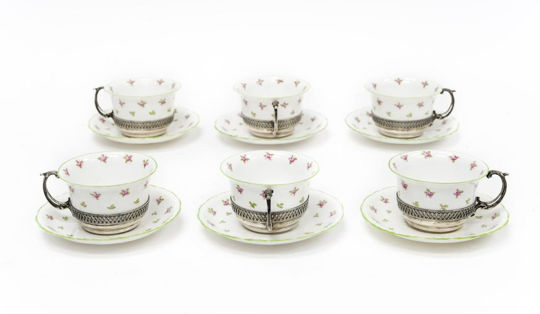 (6) Staffordshire Cups & Saucers w/ Sterling Holders.