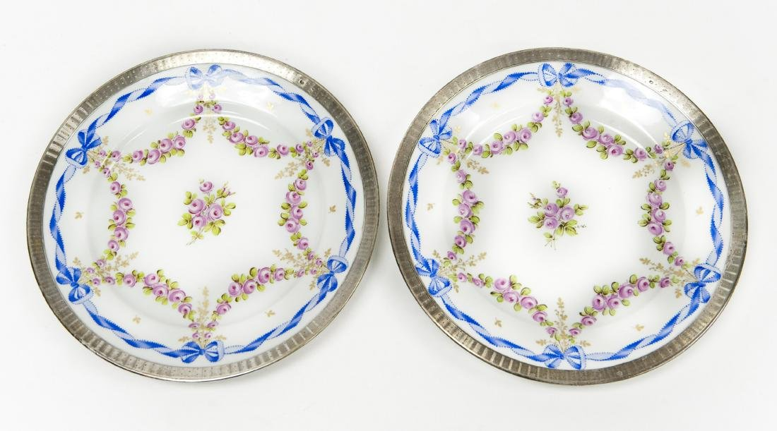 Pair of Continental Porcelain Plates w/ French Silver