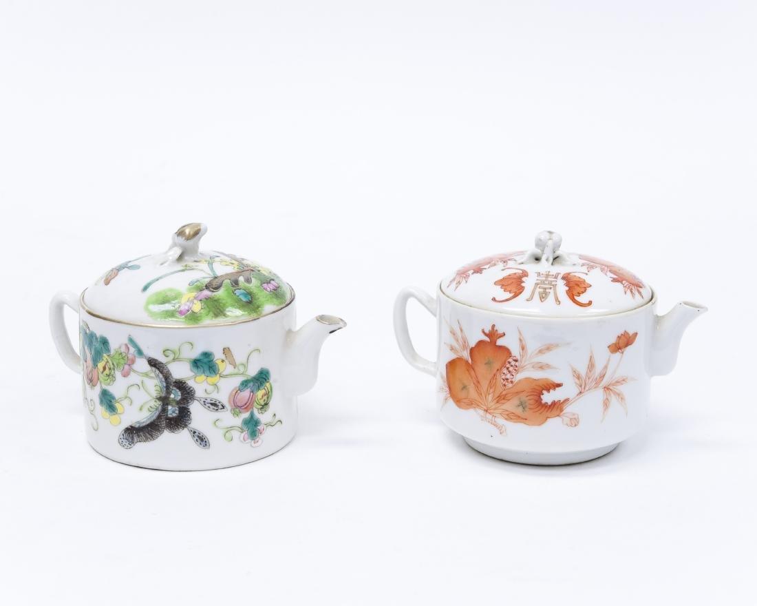 (2) Chinese Porcelain Miniature Teapots.