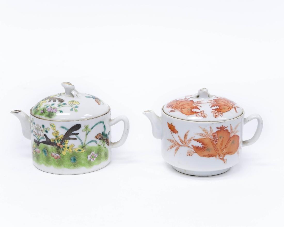 (2) Chinese Porcelain Miniature Teapots. - 2