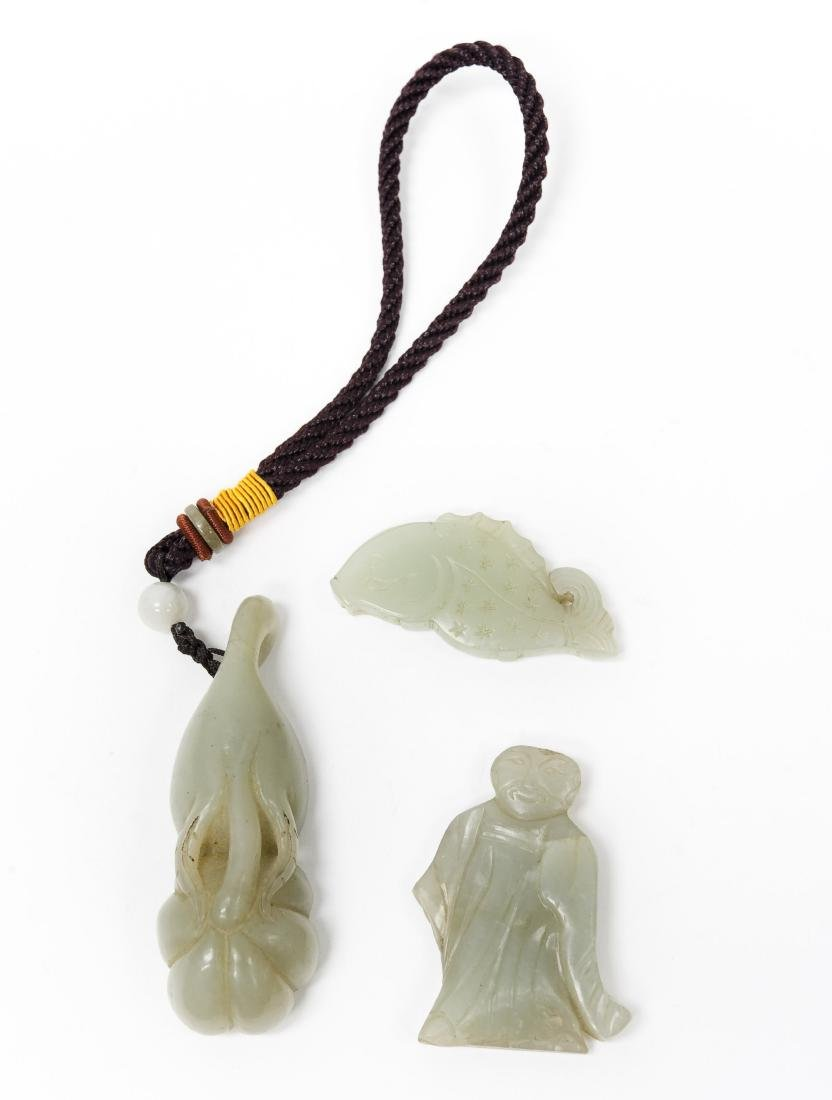 (2) Chinese Carved Jade Pendants & a Figure.