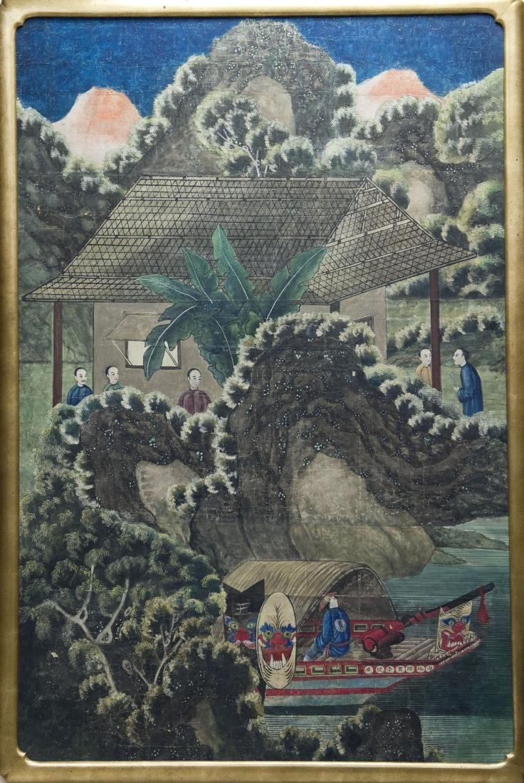 Framed Oriental Large Painting.