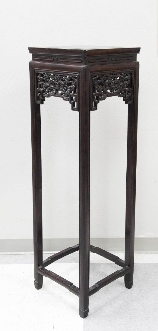 Chinese Carved Rosewood Tall Stand. - 2