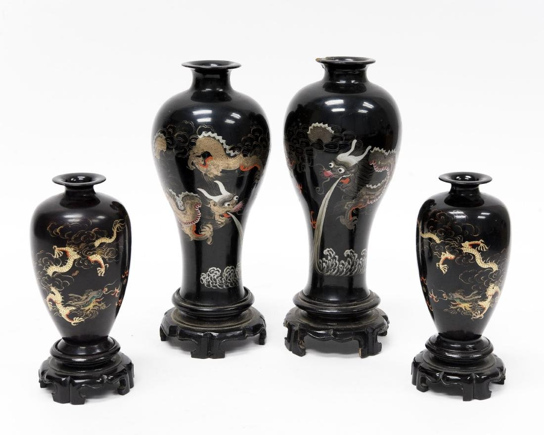 (2) Pairs of Oriental Lacquered Vases.