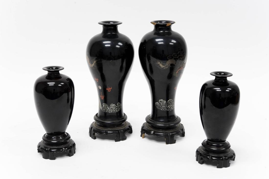 (2) Pairs of Oriental Lacquered Vases. - 2