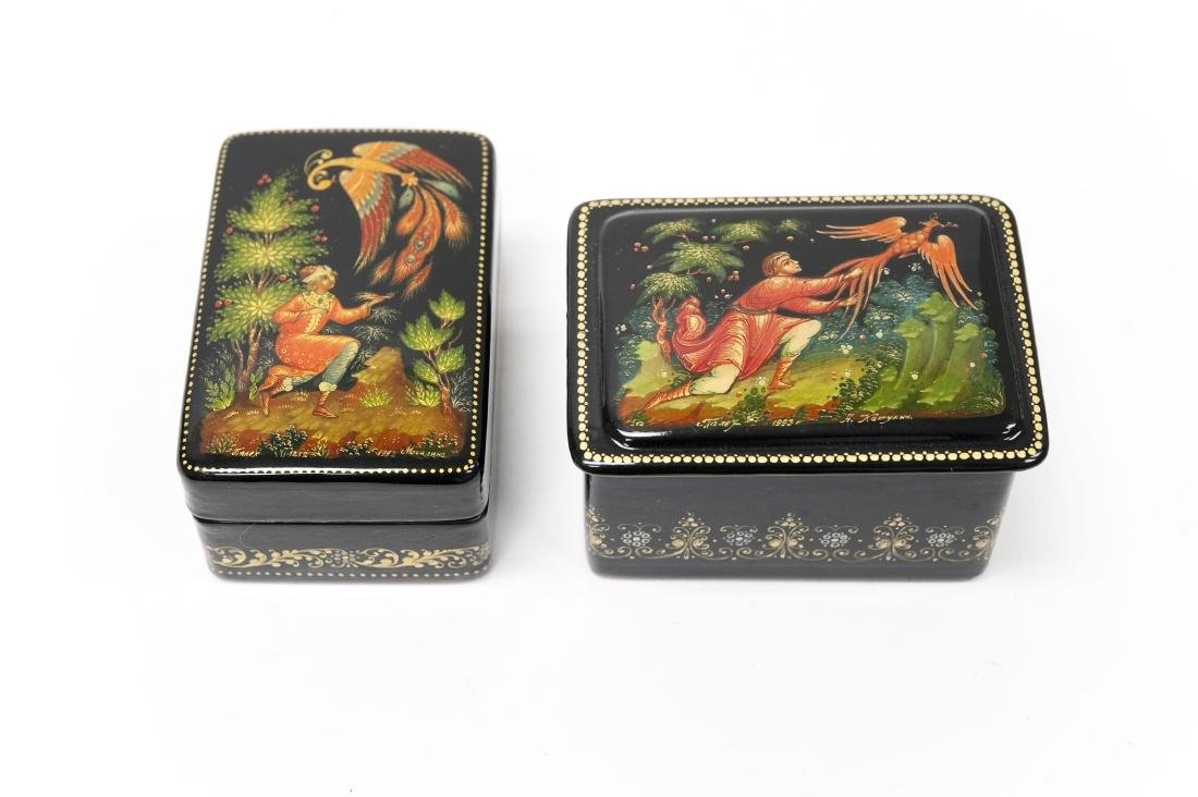 (2) Palekh Russian Lacquer Miniature Boxes.