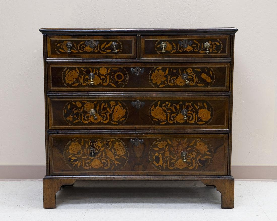 19th C. Mahogany and Fruitwood 5-drawer Desk.