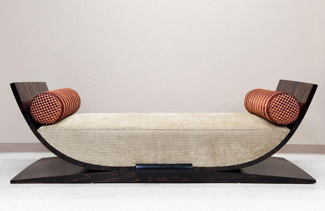 Modernist Brazilian Rosewood Curved Bench / Daybed.
