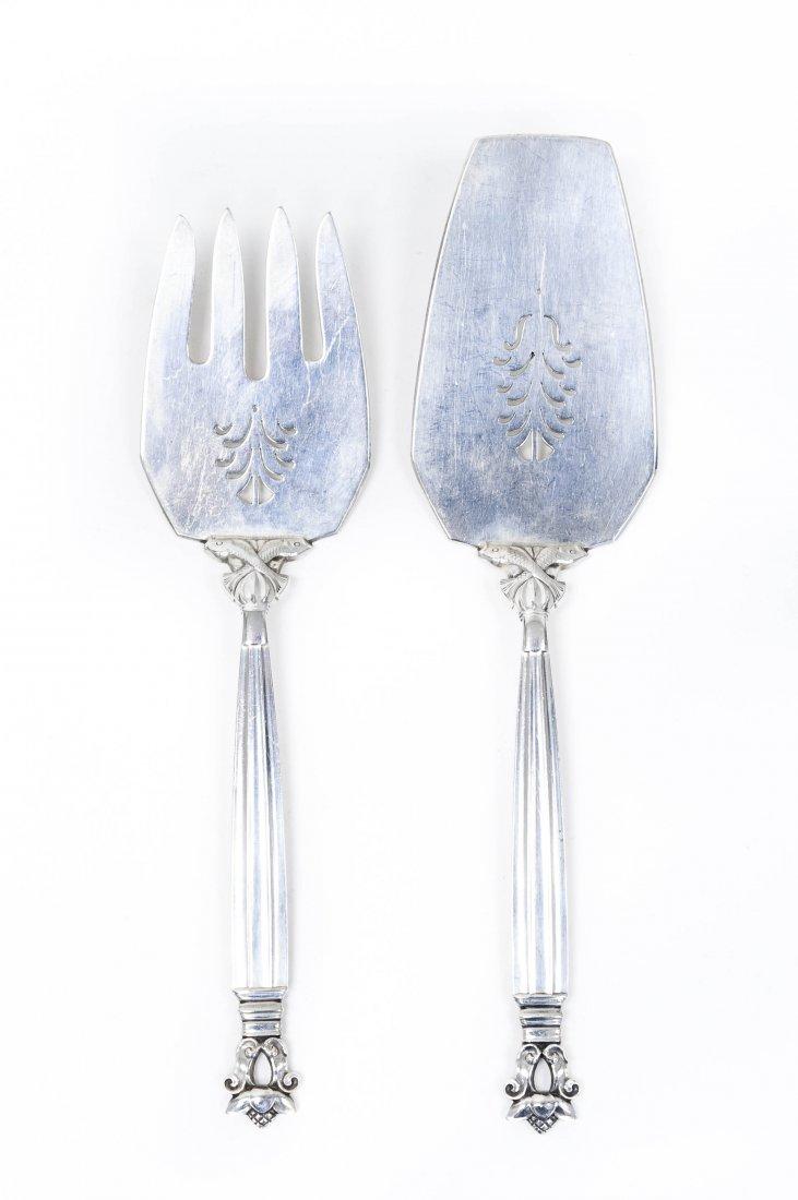 Georg Jensen Sterling Silver Serving Fork & Slice.