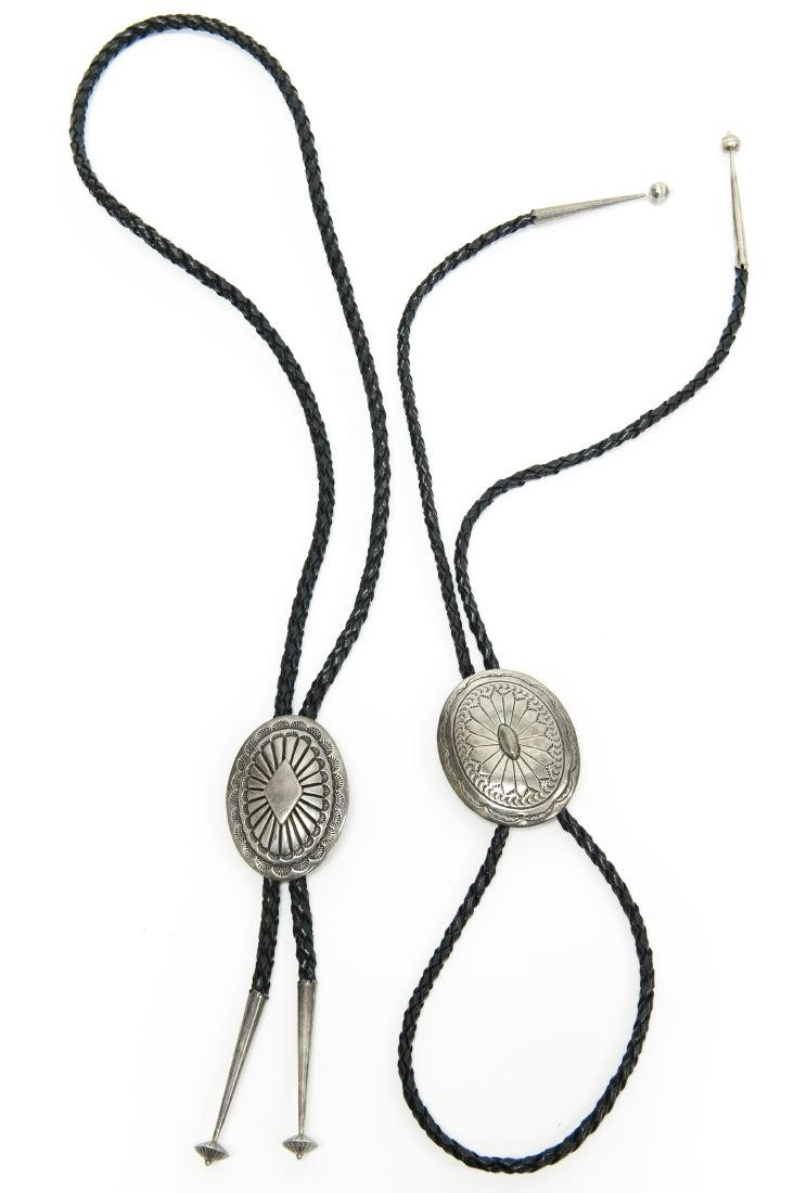 (2) Bolo Ties with Oval Silver Slides.