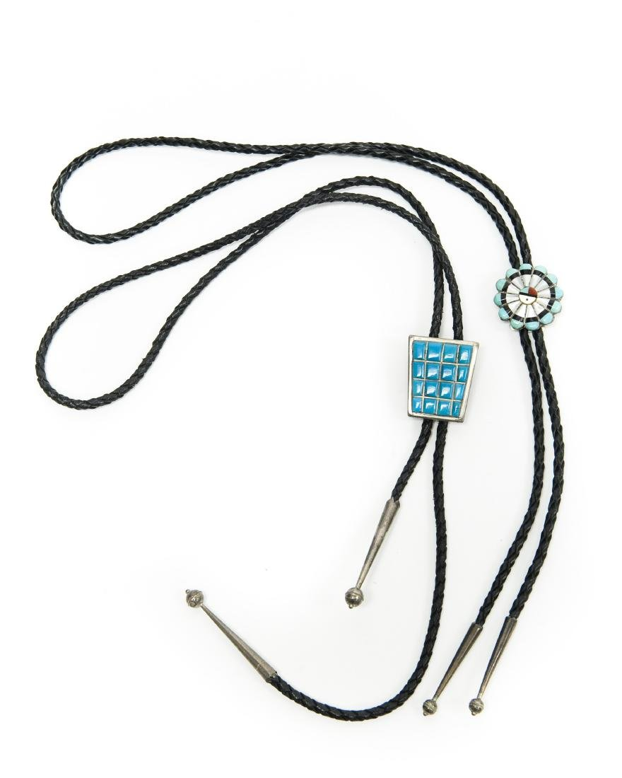 (2) Bolo Ties with Turquoise Style Stones.