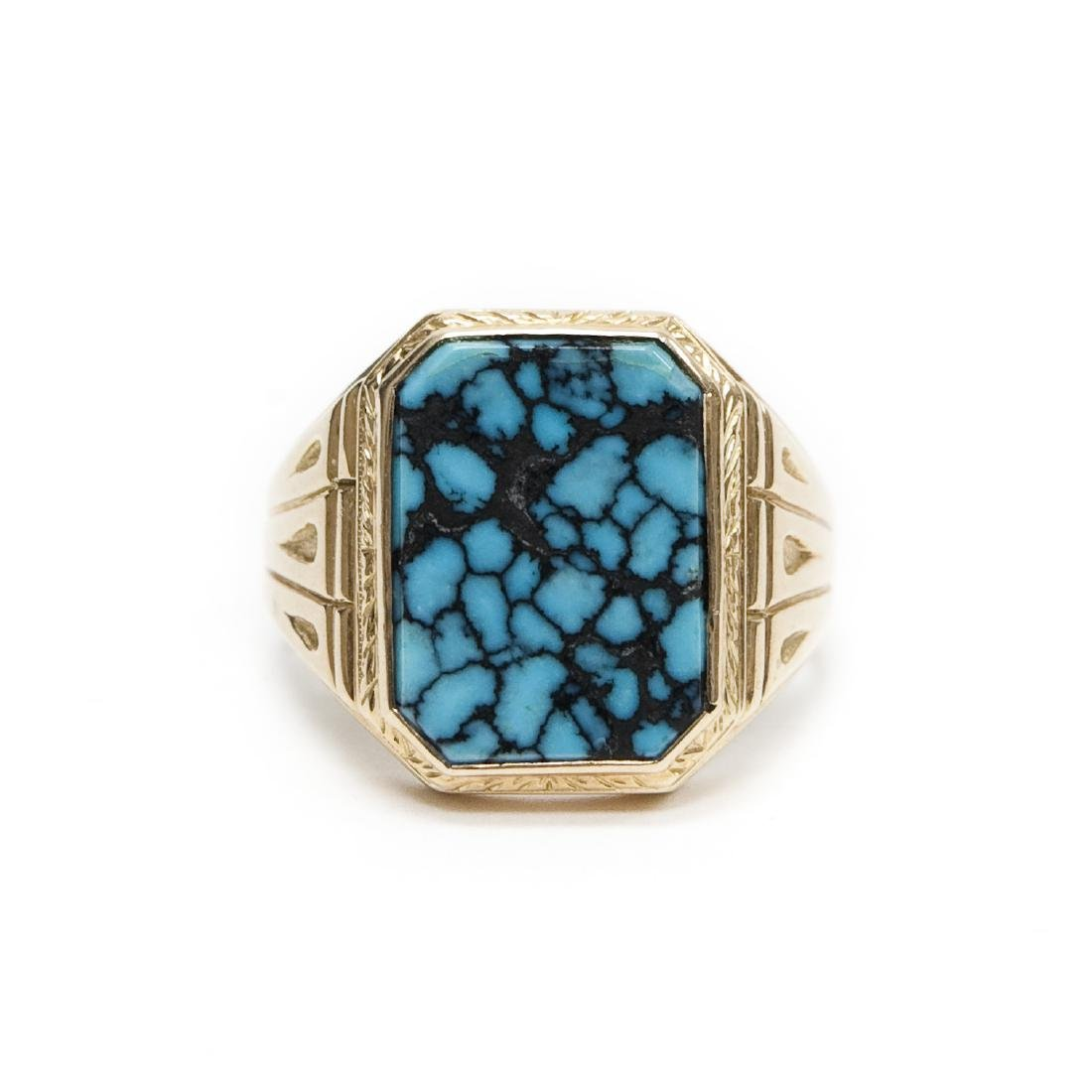 14K Yellow Gold Ring with Turquoise Style Stone.