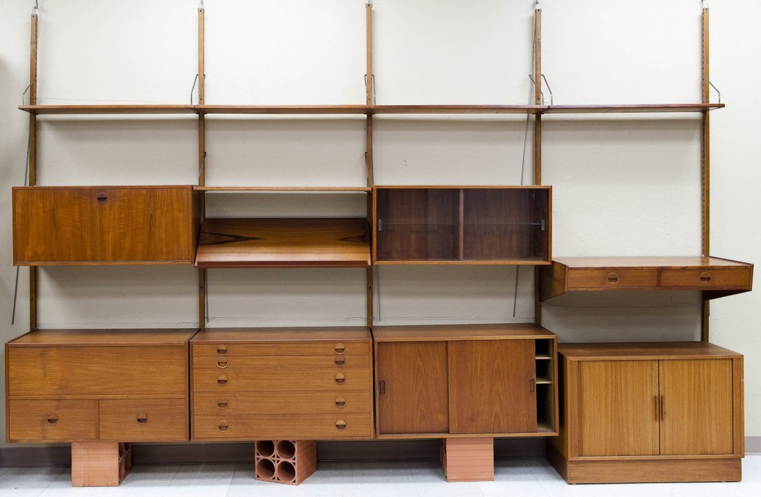 Danish Teak Sectional Wall Unit with Cabinet.