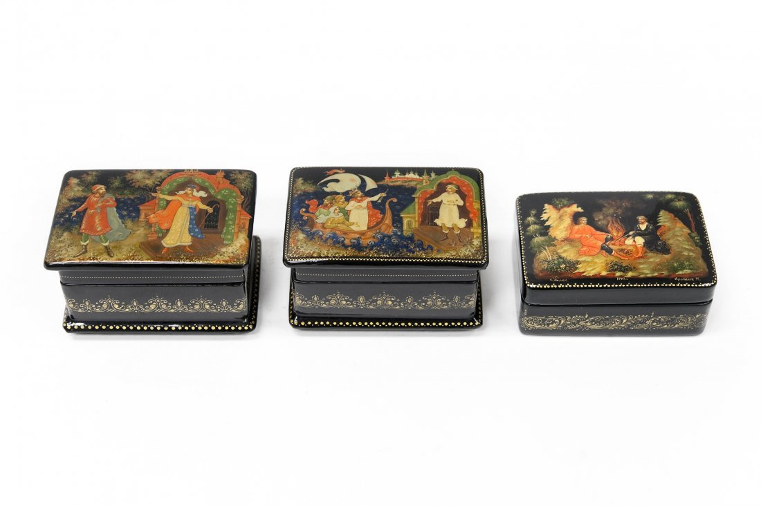 (3) Palekh Russian Miniature Boxes.